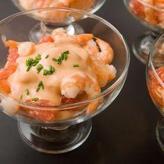 Verrines de crevettes, pamplemousse cocktail