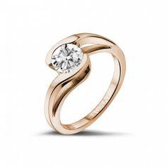 Classics - 1.00 quilates anillo solitario diamante en oro rojo