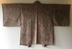 Vintage Japanese Kimono Haori Jacket Silk brown karakusa
