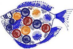 Modern fish free embroidery design. Machine embroidery design. www.embroideres.com