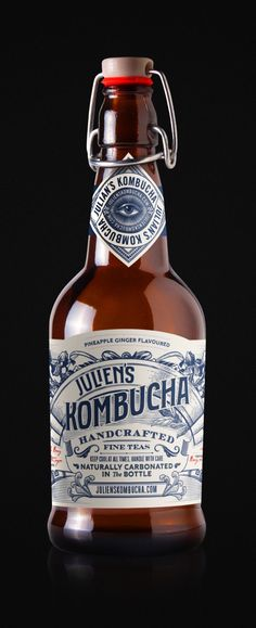 Juliens Kombucha by Trip estudiotrip.com Beer Packaging, Beverage Packaging, Packaging Design, Non Alcoholic Drinks, Wine Drinks, Kombucha Bottles, Beer Bottles, Electric Wine Opener, Sweet Wine