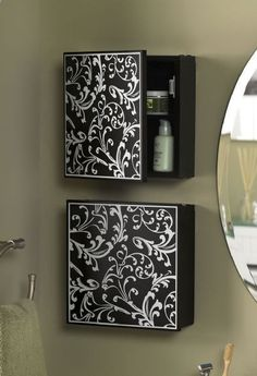 Bathroom storage - make them look like a series of peices of arts/ canvasses but have them open so each person has a mini medicine cabinet!