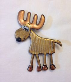 Chocolate Moose Pin brown funny antlers whimsical friendly plastic lightweight on Etsy, $12.00