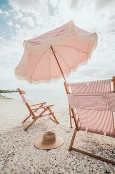 The Premium Beach Umbrella - Lauren's Pink Stripe