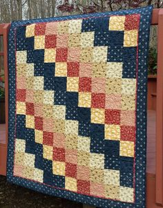 Quilt, Lap Quilt, Quilted Throw, Patchwork Quilt, 48 x 54, machine quilted, country primitive colors, blue, deep red, beige, pale gold