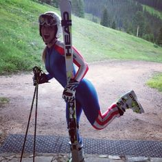 Lindsey Vonn recently shared this photo of her in her 2010 Olympic race suit, holding her skis and started her 26 day count down, until she can actually ski again after her season ending ACL & MCL tare last season in the World Championships