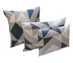 Plane Curve Cushion: Blue, Charcol, Grey - Tamasyn Gambell - A responsive Shopify theme Small Cushions, Blue Cushions, Grey Throw Pillows, Accent Pillows, Textile Prints, Textile Design, Oil Cloth Fabric, British Home Decor, Grey Home Decor