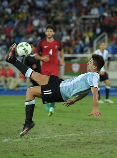 #RIO2016 Giovanni Simeone of Argentina shoots during the Men's Group D first round match between Portugal and Argentina during the Rio 2016 Olympic Games at...