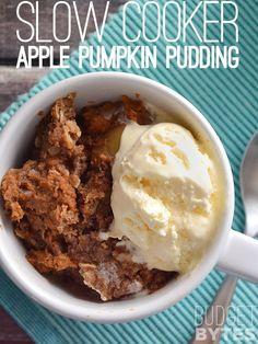 A warm, rich dessert full of spicy autumn flavors. Slow Cooker Apple Pumpkin Pudding - BudgetBytes.com