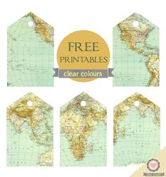 Clear colours: free map tags printables more. Map Crafts, Free Maps, Travel Tags, Travel Party, Baby Travel, Craft Free, Thinking Day, Travel Themes, Travel Ideas
