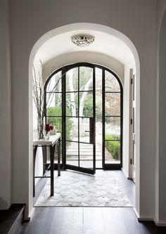 steel front door arched glass. Love