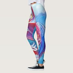 Unity pink blue feminine Whimsical Boho Art Leggings!