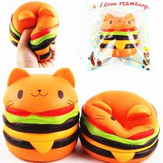 Sanqi Elan Squishy Cat Hamster Burger Slow Rising Phone Charm Stress Relief Toys