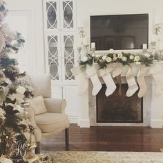 White Christmas family room with ruffled stocking by Randi Garrett Designs