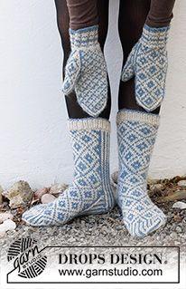 Knitted Socks Free Pattern, Mittens Pattern, Knitting Patterns Free, Free Knitting, Crochet Patterns, Blue Mittens, Knit Mittens, Knitting Socks, Drops Design