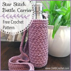 This free crochet bottle holder pattern includes step-by-step photo instructions for the star stitch. An easy to understand pattern with stunning results! My star stitch bottle carrier pattern is in testing and should be ready for release next weekend! Crochet Buttons, Crochet Motifs, Free Crochet, Crochet Ideas, Cotton Crochet Patterns, Crochet Cup Cozy, Learn Crochet, Crochet Projects, Crochet Star Stitch