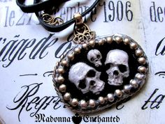 Madonna Enchanted skull choker necklace memento mori mourning gothic skulls ooak Halloween unique jewelry assemblage by madonnaenchanted on Etsy