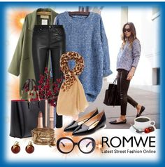 Knit Blue Sweater with Romwe