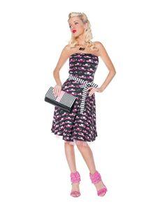 ! 1 50s Rockabilly Dresses: Pink Hearse Cars Petticoat Rockabilly Dress