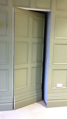 Beaded Wall Panelling with special secret panelled door, coving, architraves, skirting and matching archway Secret Room Doors, Secret Walls, Secret Rooms, Hidden Doors In Walls, Hidden Rooms, Wall Panel Design, Door Design, House Design, Wooden Panelling