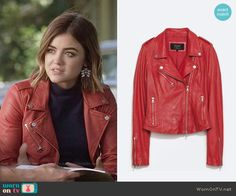 Aria's red leather jacket on Pretty Little Liars.  Outfit Details: https://wornontv.net/55819/ #PLL