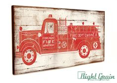 Custom Made Camion De Pompier Vintage Wall Art Par Rightgrain