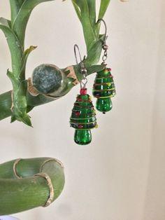 Lampwork Christmas Tree Earrings Christmas Tree by BeadingSista