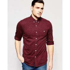 ASOS Jersey Shirt in Burgundy with Long Sleeves ($38) ❤ liked on Polyvore featuring men's fashion, men's clothing, men's shirts, men's casual shirts and burgundy