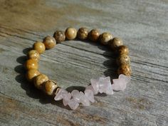 Unconditional Love by Wanderbird. This bracelet is made with rose quartz and picture jasper. Unconditional Love, Love Bracelets, Rose Quartz, Jasper, Shop, Pictures, Jewelry, Photos, Jewlery