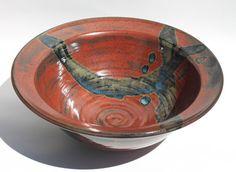Beautiful Flat Rim Bowl Large Serving Bowl by bridgespottery