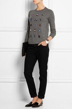 Markus Lupfer | Natalie crystal-embellished merino wool sweater | NET-A-PORTER.COM
