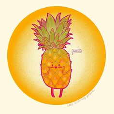"""Thea - Little Branches Paper on Instagram: """"#inktober2019 a little meek pineapple, meekness = humility. Even this pineapple with a glorious crown is not proud of his crown. It humbly…"""" Humility, Branches, Pineapple, Christian, Crown, Paper, Illustration, Instagram, Pinecone"""
