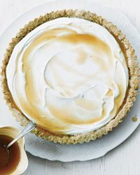 Honeyed Goat Cheese Tart with Pistachio Crust | Here, warm honey is drizzled over a mixture of goat cheese and Greek yogurt, where it cools to a caramel-like consistency.