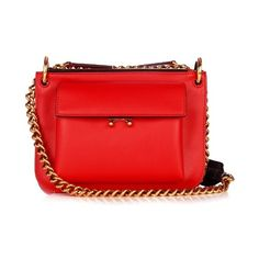 Marni Trunk bi-colour leather cross-body bag (109,285 INR) ❤ liked on Polyvore featuring bags, handbags, shoulder bags, leather crossbody handbags, red leather handbags, red crossbody, red leather purse and red leather shoulder bag