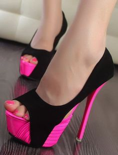 pink + black heels FUN!!! if they weren't ankle breakers they'd be perfect for VEGAS!