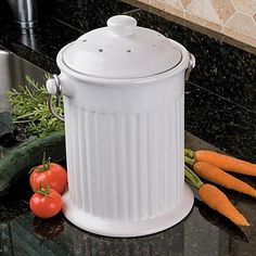 Ceramic Compost Crock - Improvements by Improvements. $27.99. Got scraps? Get a kitchen countertop Compost Collection Crock! Each is a heavy countertop container in which you collect kitchen scraps for eventual recycling into fertilizer-rich compost. (Better than choking the disposer with vegetable peelings!) No need to run out to the backyard composter after every meal...just lift the lid and drop-in all those veggie scraps, egg shells, coffee grounds. Filtered lid keeps it a...