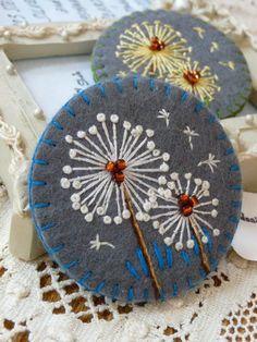 Items similar to ES534/039 - Dandelion inspired handmade felt brooch - Grey on Etsy