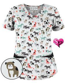 UA Doggy Dog White Print Scrub Top Style # UA638DDW #uniformadvantage #uascrubs…