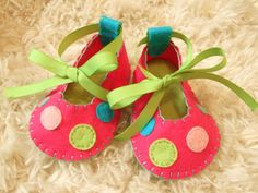 Hot Pink and Lime Green Ballet Flats with Polka Dots - Felt Baby Shoes - Can Be Personalized via Etsy