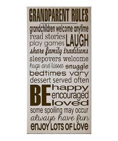 This Cream & Brown 'Grandparent Rules' Wall Art is perfect! #zulilyfinds