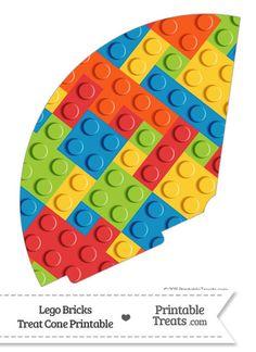 Lego Bricks Treat Cone--- https://www.pinterest.com/printabletreats/lego-theme-printables/