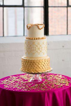 Modern Chic Pink and Gold.  #blingwedding #bling #blingcake #weddingcake #cake #hisandhersconfections