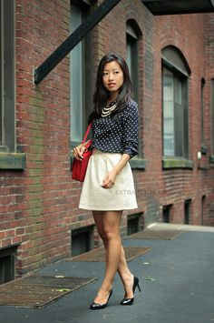 PetiteAsianGirl: navy polka dotted blouse, white skirt, pearls