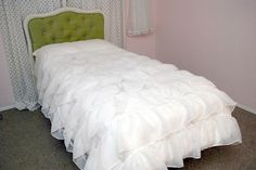 DIY bedspread made from ruffled shower curtain! - www.classyclutter.net