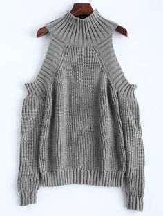 $19.45 for Cold Shoulder Funnel Neck Jumper GRAY: Sweaters | ZAFUL