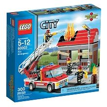 HELP! An abandoned house is on fire and only the LEGO City firefighters can save the day! Jump out of the fire truck and extend the ladder to reach the charred roof and flame elements! Put out the fire from above, then cut through the door with the powerful saw to douse the flames with the fire extinguisher. Retract the flames to show a job well done. These firefighters are always ready for action! Includes 3 firefighters with assorted accessories.