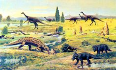 Saichania, Gallimimus, and Bagaceratops by Zdeněk Burian