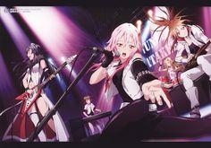 (left to right) Tsumugi, Hare, Inori, Arisa, Ayase Guilty Crown Guilty Crown Wallpapers, Manga Anime, Anime Art, Anime Music, Crown Images, Crown Pics, Charlotte Anime, Inori Yuzuriha, Joan Jett