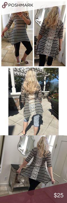 Lace knit top stripe tunic blouse stretch ✨ Hype ✨ long tunic top Lace back  shark 7c6a5bb038e