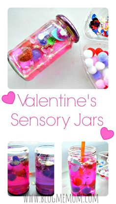 Valentine's Sensory Jars kids can make. #sensoryactivitiesforkids #valentinesdaycraftfs #valentinesdayactivities: